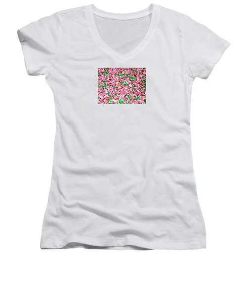 Candy Is Dandy Women's V-Neck T-Shirt (Junior Cut) by Beth Saffer