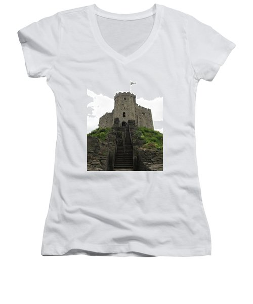 Cardiff Castle Women's V-Neck T-Shirt (Junior Cut) by Ian Kowalski