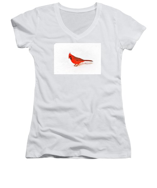Women's V-Neck T-Shirt (Junior Cut) featuring the photograph Young Cardinal's Curiosity by Tamyra Ayles