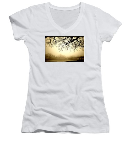 Castle In The Fog Women's V-Neck T-Shirt (Junior Cut) by Brian Duram
