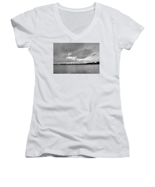 Women's V-Neck T-Shirt (Junior Cut) featuring the photograph Channel View by Sarah McKoy