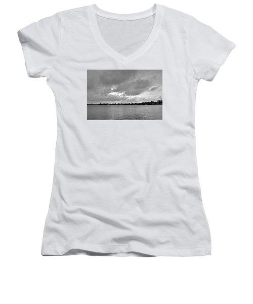 Channel View Women's V-Neck T-Shirt (Junior Cut) by Sarah McKoy