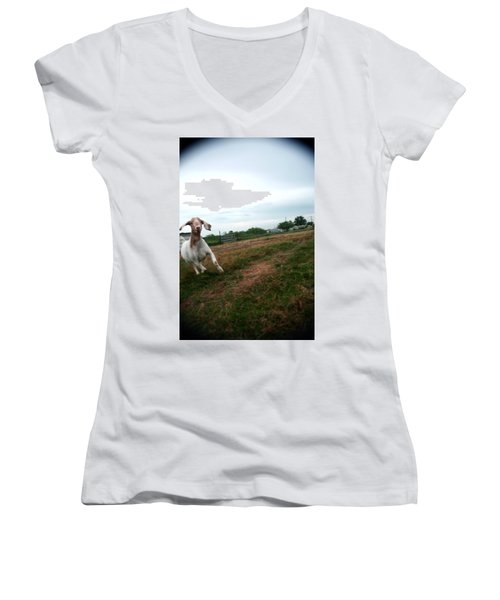 Women's V-Neck T-Shirt (Junior Cut) featuring the photograph Chased By A Crazy Goat by Lon Casler Bixby
