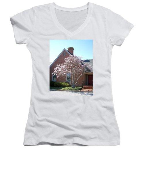 Women's V-Neck T-Shirt (Junior Cut) featuring the photograph Cherry Blossom by Pamela Hyde Wilson