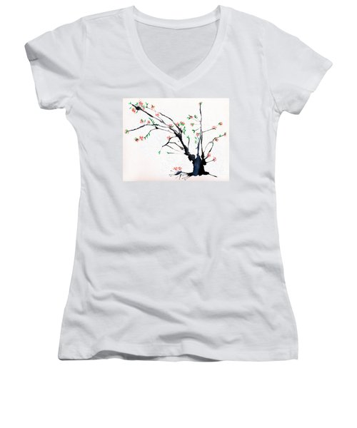 Cherry Tree By Straw Women's V-Neck T-Shirt