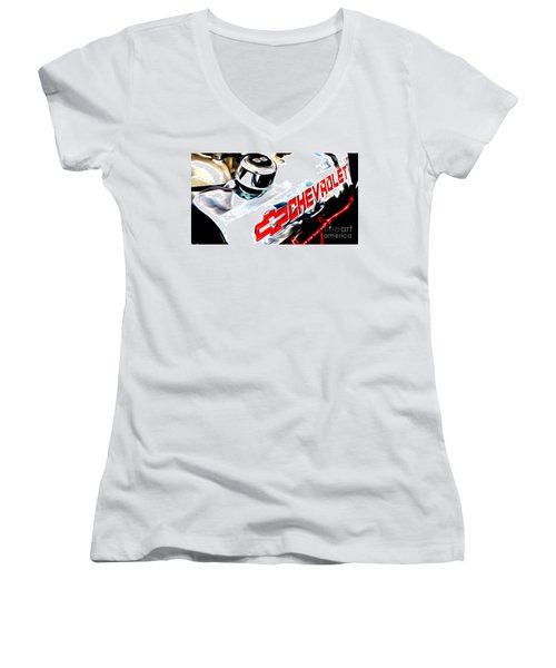 Women's V-Neck T-Shirt (Junior Cut) featuring the digital art Chevy Power by Tony Cooper