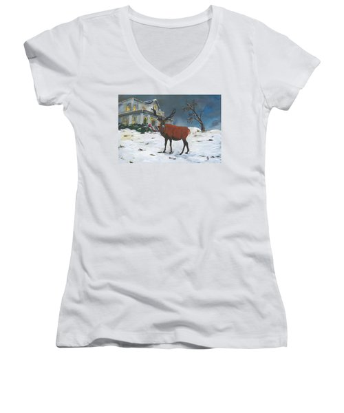 Christmas Elk Women's V-Neck (Athletic Fit)