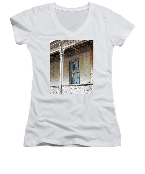 Women's V-Neck T-Shirt (Junior Cut) featuring the photograph Civil War Hospital Memphis by Lizi Beard-Ward