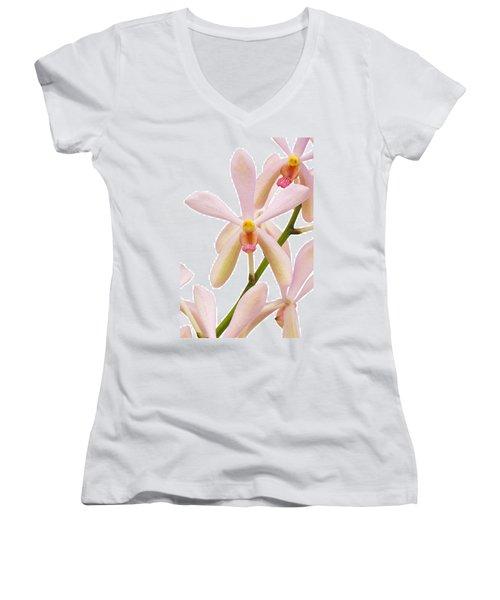 Closeup Pink Orchid Women's V-Neck T-Shirt (Junior Cut) by Atiketta Sangasaeng