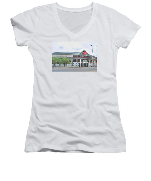 Women's V-Neck T-Shirt (Junior Cut) featuring the photograph Coca Cola Field  by Michael Frank Jr