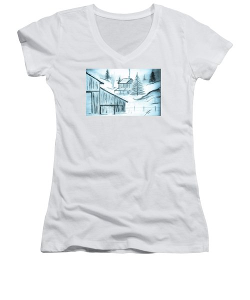 Women's V-Neck T-Shirt (Junior Cut) featuring the drawing Colorado Farm by Shannon Harrington