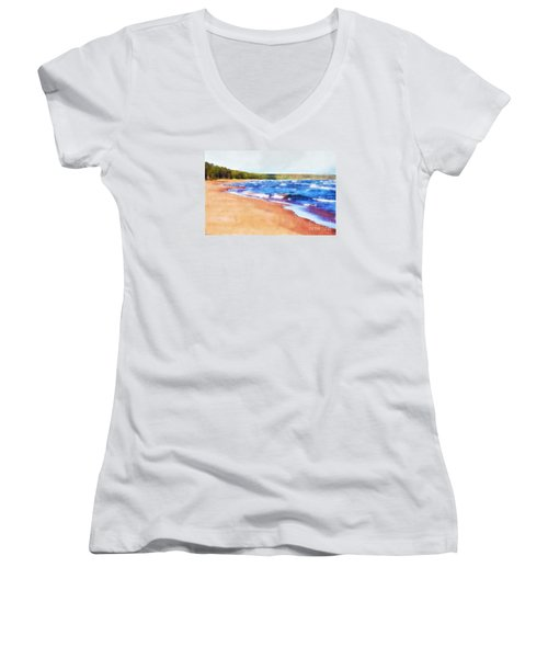 Women's V-Neck T-Shirt (Junior Cut) featuring the photograph Colors Of Water by Phil Perkins