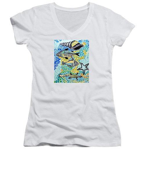Comotion In The Ocean Women's V-Neck T-Shirt (Junior Cut) by Sandra Lira