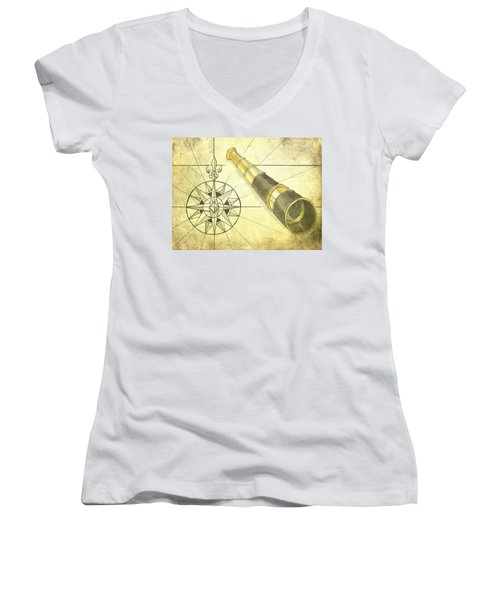 Compass And Monocular Women's V-Neck T-Shirt