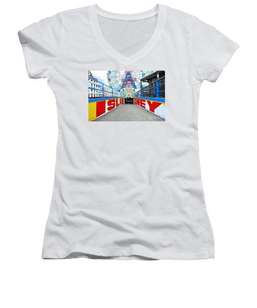 Coney Island Sign Women's V-Neck T-Shirt