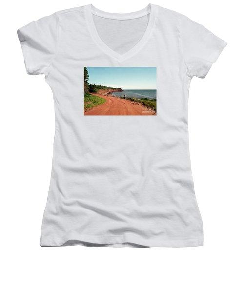 Contemplation Women's V-Neck T-Shirt (Junior Cut) by Kathy McClure