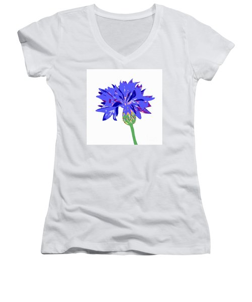 Cornflower Women's V-Neck T-Shirt (Junior Cut) by Barbara Moignard