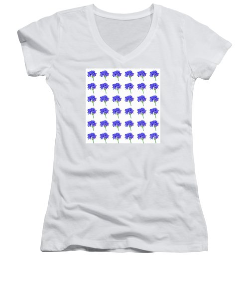 Cornflowers Women's V-Neck T-Shirt (Junior Cut) by Barbara Moignard