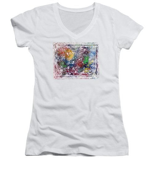 Women's V-Neck T-Shirt (Junior Cut) featuring the painting Cosmos by Alys Caviness-Gober