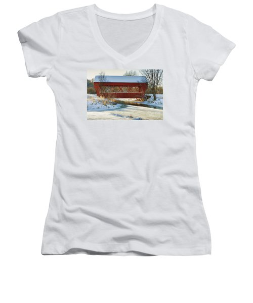 Women's V-Neck T-Shirt (Junior Cut) featuring the photograph Covered Bridge by Eunice Gibb