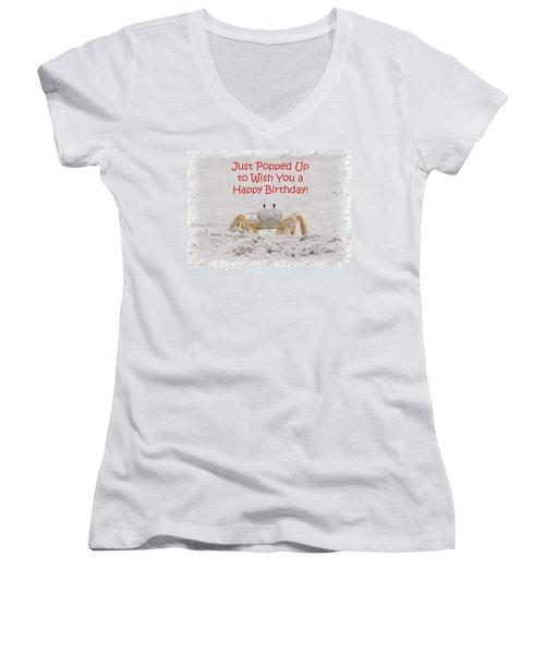 Crab Happy Birthday Women's V-Neck T-Shirt (Junior Cut) by Judy Hall-Folde