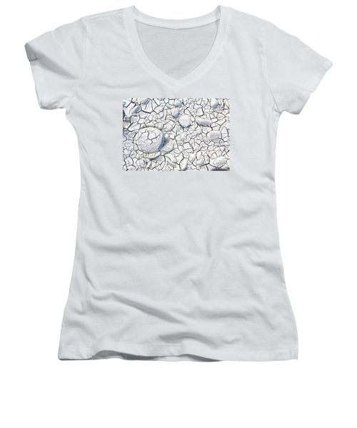 Women's V-Neck T-Shirt (Junior Cut) featuring the photograph Cracked Earth by Nareeta Martin