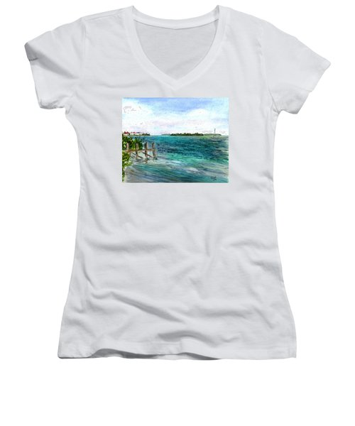 Cudjoe Bay Women's V-Neck T-Shirt (Junior Cut)
