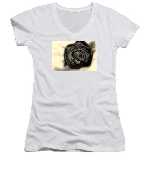 Women's V-Neck T-Shirt (Junior Cut) featuring the photograph Dark Beauty by Kay Novy