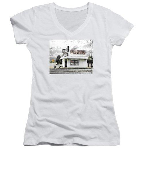 Women's V-Neck T-Shirt (Junior Cut) featuring the photograph Dead End by Lizi Beard-Ward