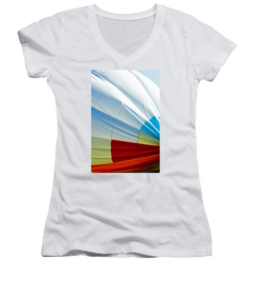Deflating Women's V-Neck T-Shirt (Junior Cut) by Colleen Coccia