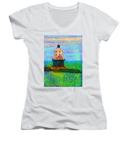 Women's V-Neck T-Shirt (Junior Cut) featuring the photograph Delight House by Clara Sue Beym