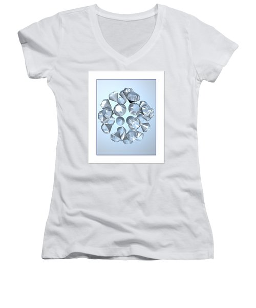 Women's V-Neck T-Shirt (Junior Cut) featuring the digital art Diamonds... by Tim Fillingim