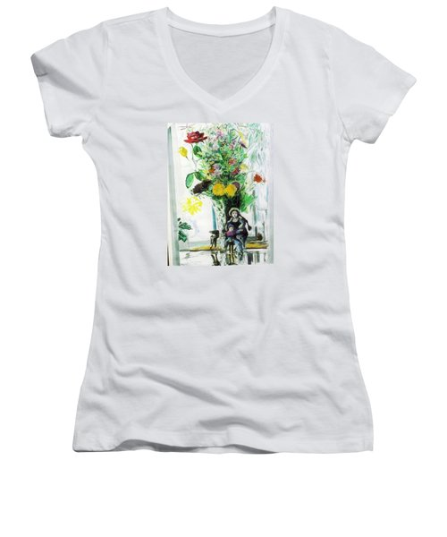 Dolls And Flowers Women's V-Neck T-Shirt