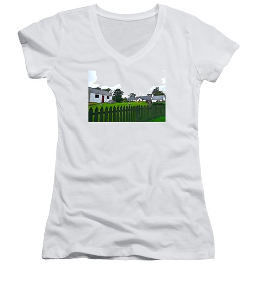 Women's V-Neck T-Shirt (Junior Cut) featuring the photograph Donegal Home by Charlie and Norma Brock