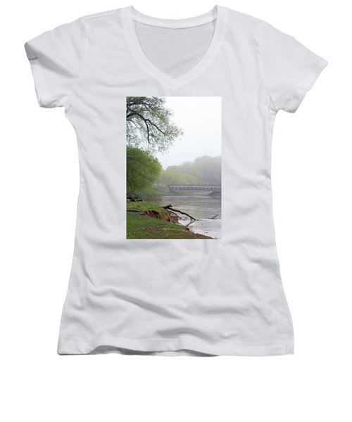 Women's V-Neck T-Shirt (Junior Cut) featuring the photograph Early Spring Morning Fog by Kay Novy