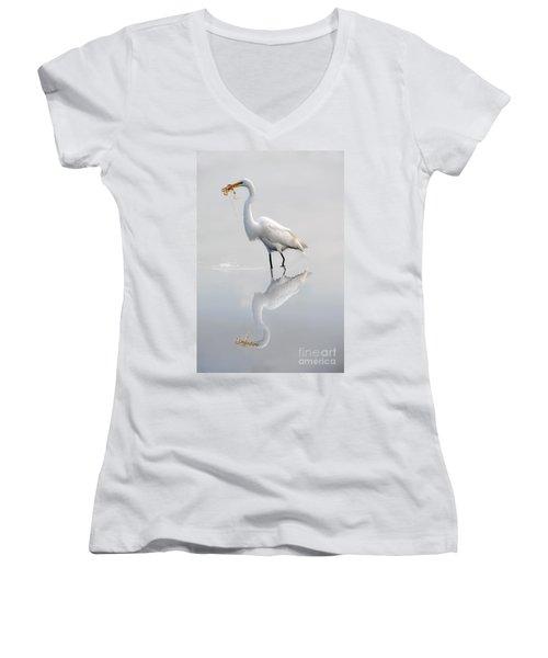 Women's V-Neck T-Shirt (Junior Cut) featuring the photograph Egret Eating Lunch by Dan Friend