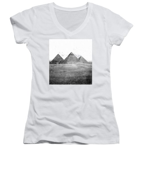 Egyptian Pyramids - C 1901 Women's V-Neck T-Shirt (Junior Cut) by International  Images