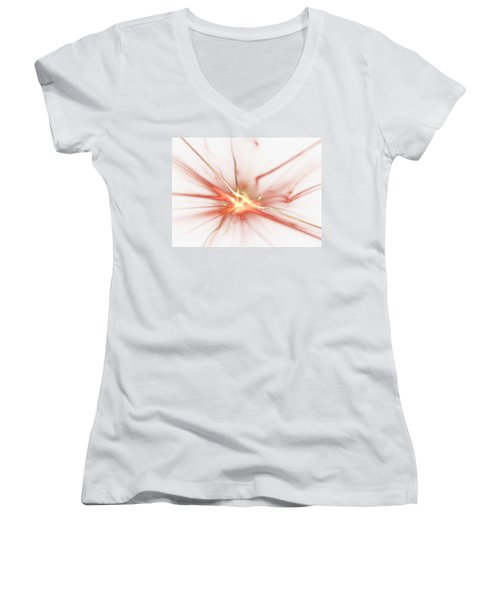 Women's V-Neck T-Shirt (Junior Cut) featuring the digital art Electric by Kim Sy Ok