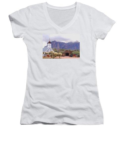 Women's V-Neck T-Shirt (Junior Cut) featuring the photograph Elvis Memorial Chapel by Tam Ryan