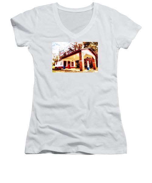 Women's V-Neck T-Shirt (Junior Cut) featuring the painting Esso Filling Station by Lynne Jenkins