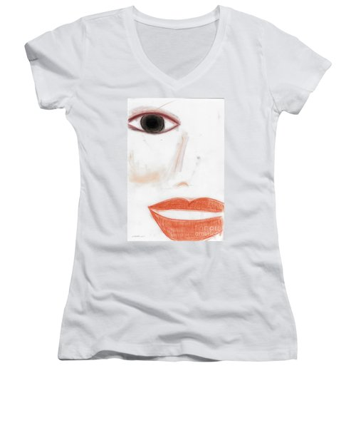 Women's V-Neck T-Shirt (Junior Cut) featuring the photograph Face by Vicki Ferrari