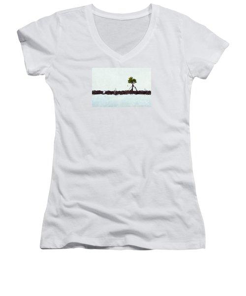 Falling Mangrove Leaf Women's V-Neck T-Shirt (Junior Cut) by Dan Friend