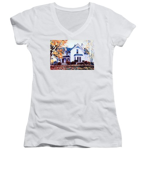 Women's V-Neck T-Shirt featuring the painting Family Home Portrait by Hanne Lore Koehler