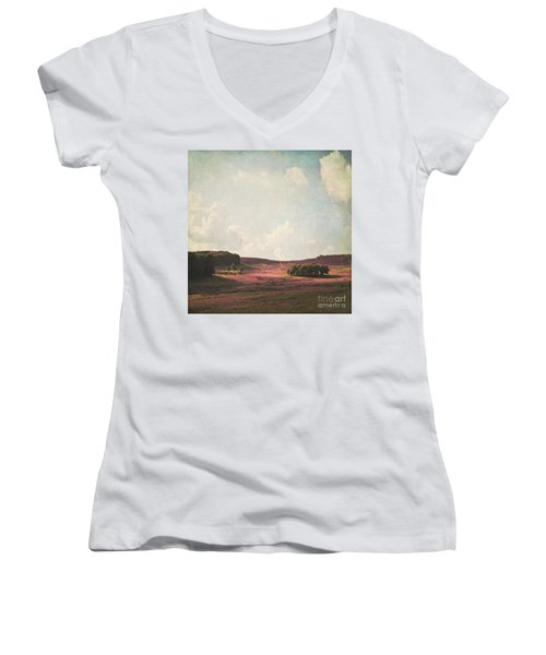 Fields Of Heather Women's V-Neck T-Shirt (Junior Cut) by Lyn Randle