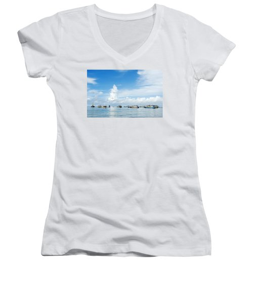 Fishing Boat Women's V-Neck T-Shirt (Junior Cut) by Yew Kwang