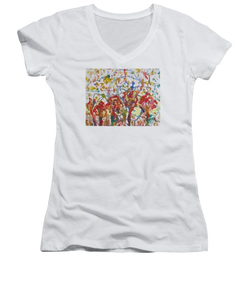 Women's V-Neck T-Shirt (Junior Cut) featuring the painting Floral Feel by Sonali Gangane