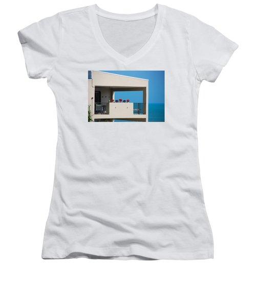 Women's V-Neck T-Shirt (Junior Cut) featuring the photograph Flower Pots Five by John Schneider