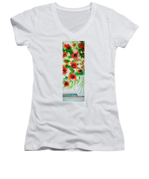 Flowers In A Glass Women's V-Neck
