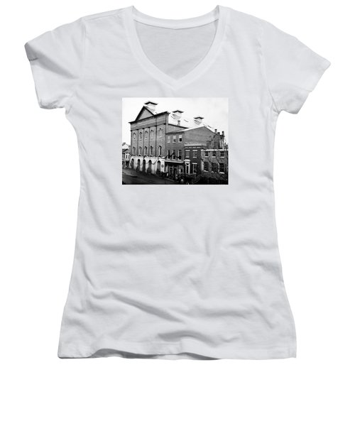 Women's V-Neck T-Shirt (Junior Cut) featuring the photograph Fords Theater - After Lincolns Assasination - 1865 by International  Images