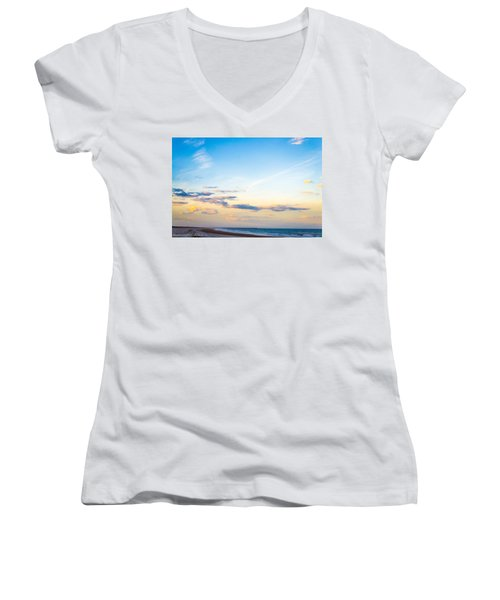 Women's V-Neck T-Shirt (Junior Cut) featuring the photograph Forte Clinch Pier by Shannon Harrington